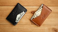 CHASTE compact cardholder from natural leather and by HANDWERS-SR