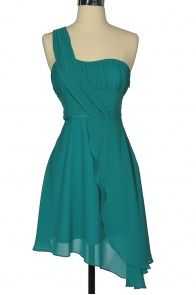 _ CUTE Dress Site!_ One Shoulder Asymmetrical Hemline Chiffon Designer Dress by Minuet in Teal $52.00