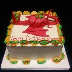 A super cool cake I got to decorate at work today based on the best selling children's book Dragons Love Tacos! Dragon Birthday Parties, Dragon Party, 1st Boy Birthday, Birthday Celebration, Birthday Ideas, Dragons Love Tacos Party, Super Cool Cakes, Taco Cake, Taco Party