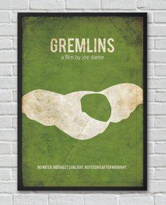 Gremlins movie inspired minimalist vintage poster by FlickGeek, $11.00