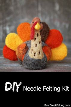 Learn how to needle felt or advance your skills with a kit from Bear Creek Felting. All the supplies for this turkey craft project are included in the kit along with the best wool for needle felting. Instructions with pictures of e Needle Felting Supplies, Needle Felting Tutorials, Craft Kits, Diy Kits, Craft Projects, Craft Ideas, Felt Projects, Project Ideas, Craft Supplies