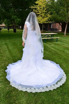1 Tier Layer Beautiful Cathedral Bridal Wedding Veil with Appliques Edge-V12 Ivory ** You can get additional details at the image link. #hair