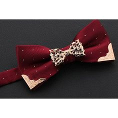 Burgundy Bejeweled Dotty Bow Tie for Men Women Wedding Dress Suit SKU-71114038