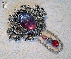 Dragons Breath Fire Opal Brooch, handmade jewelry victorian gothic renaissance medieval edwardian art nouveau art deco cloak pin tudor - Wedding brooches and pins (*Amazon Partner-Link)