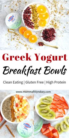 greek yogurt recipes and breakfast bowl recipes for quick healthy breakfast with high protein from Momma Fit Lyndsey Greek Yogurt Breakfast, Greek Yogurt Protein, Detox Breakfast, High Protein Breakfast, Quick Healthy Breakfast, Breakfast Bowls, Healthy Snacks, Gourmet Breakfast, Breakfast Ideas