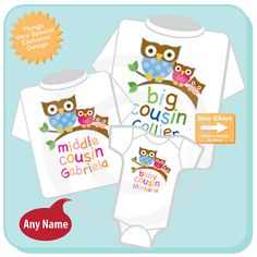 This cute set of three items for cousins shows a big boy owl and two little girl owls that are younger than him. So if you have a set of three cousins this set makes a great gift.