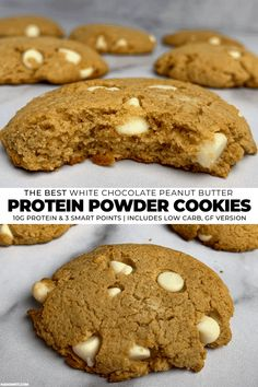 You haven't tried a protein cookie until you've had these peanut butter protein cookies. They're unbelievably soft, have white chocolate chips in every bite, and have 10 grams of protein per cookie! Protein Powder Cookies, Peanut Butter Protein Cookies, Almond Flour Cookies, Best Peanut Butter, Protein Powder Recipes, Protein Chocolate Chip Cookies, Baking With Protein Powder, Protein Recipes, Smoothie Recipes