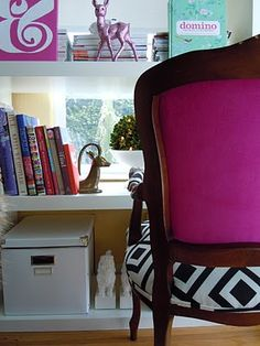 Gorgeous chair with David Hicks and fuschia!