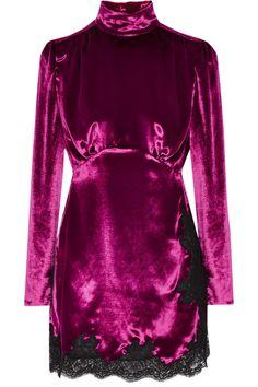 Alessandra Rich Lace-trimmed Velvet Mini Dress In Fuchsia Purple Velvet Dress, Purple Mini Dresses, Short Dresses, Velvet Dresses, Purple Cocktail Dress, Cocktail Dresses, Looks Style, Rita Ora, Button Dress