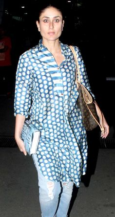 Kareena Kapoor Khan, Kajol, Sonakshi Sinha and host of other celebs were spotted at the Mumbai airport. Here s a look. Indian Attire, Indian Wear, Indian Outfits, Pretty Zinta, Printed Kurti Designs, Kurta Patterns, Kurta Designs Women, Kurti Designs Party Wear, Blouse Outfit