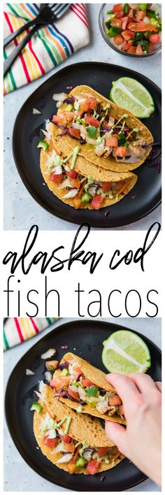 Alaska Cod Fish Tacos with a Creamy Avocado Dressing – quick, easy, delicious and even kid-friendly! @alaskaseafood #AskForAlaska #IC #ad