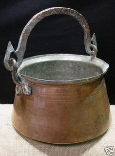 Antique Large Dove Tailed Copper Cauldron Pot with Swing Handle