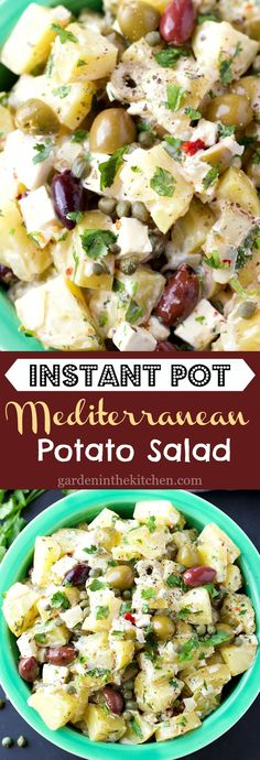 Instant Pot Mediterranean Potato Salad with olives, fresh feta cheese and capers, lightly coated with avocado oil mayo! Avocado Recipes, Healthy Chicken Recipes, Potato Recipes, Lunch Recipes, Easy Dinner Recipes, Real Food Recipes, Buffet Recipes, Coleslaw Recipes, Mediterranean Potato Salad Recipe