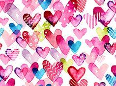 Коллекция фонов - Разноцветные сердечки