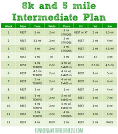 8k and 5 mile intermediate training plan