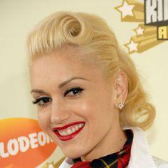 Bang Swirl - #Pompadour roll on Gwen Stefani and ponytail finish.