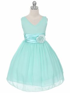 Mint Flower Girl Dress with Pin-on Flower - Blue / Turquoise Flower Girl Dresses Only $38