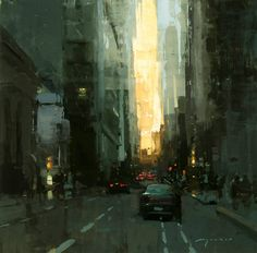 "Jeremy Mann   ""Morning, Downtown San Francisco"" Oil on Panel 12 x 12 in."