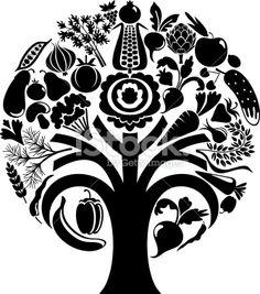 Vegetable tree stock vector art 17544336 - iStock