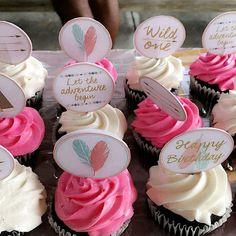 Wild One Birthday Cupcake Toppers Tribal Party by SarahFinnDesign First Birthday Cupcakes, Wild One Birthday Party, Baby Girl 1st Birthday, First Birthday Parties, Birthday Party Themes, Birthday Ideas, Baby Shower, Boho Chic, 1st Birthdays