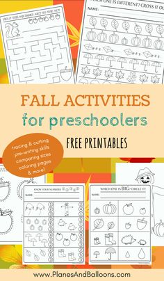 Preschool activities for fall FREE printable. Perfect for practicing cutting & tracing skills, focused attention, pre-writing skills and even fun coloring pages!