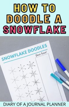 Make your winter-theme bullet journal spread shine with these brilliant snowflake doodles step-by-step guides. #snowflake #doodles #bulletjournaldoodles Bujo Doodles, Love Doodles, Simple Doodles, Snowflake Drawing Easy, Simple Snowflake, Bullet Journal Art, Art Journal Pages, Doodle Sketch, Doodle Drawings