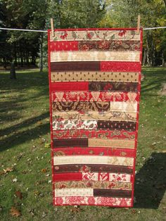 Jelly Roll Quilted Table Runner  Browns and Deep by Flyingthreads, $42.00