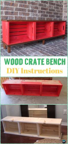 DIY Wood Crate Bench Instructions - DIY Wood Crate Furniture Ideas Projects
