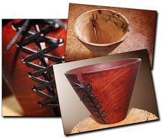 Sembramännystä sorvattu vaasi jossa luonnonhalkeama nyöritetty nahkanauhalla.