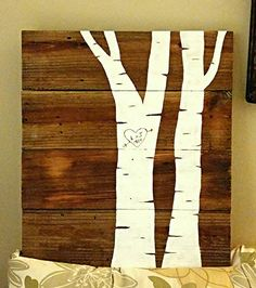 Etsy listing at https://www.etsy.com/listing/254917125/birch-tree-with-initials-pallet-sign