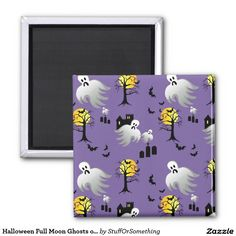 Halloween Full Moon Ghosts on Purple 2 Inch Square Magnets (x2)