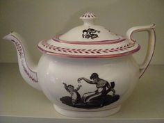 Black Transfer Printed Antique Pearlware Tea Pot     14/28