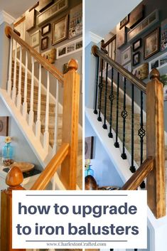 How to Replace Wooden Balusters with Iron the Easy and Cheap Way! - - How to Replace Wooden Balusters with Iron the Easy and Cheap Way! Home Improvement Loans, Home Improvement Projects, Home Remodeling Diy, Home Renovation, Kitchen Remodeling, Easy Home Decor, Cheap Home Decor, Iron Balusters, Banisters
