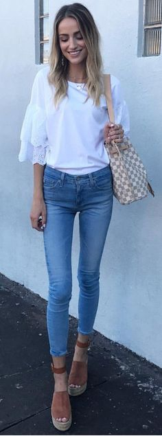 #summer #outfits  White Tee + Skinny Jeans + Brown Suede Wedge