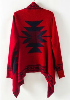 Red Geometric Embroidery Long Sleeve Cotton Blend Cardigan