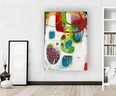 ABSTRACT ORIGINAL green red PAINTING dyptichI by MirnaSisul