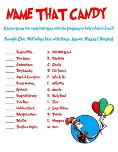 Dr. Seuss Shower Game: Name That Candy. $3.00, via Etsy.