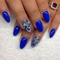 Almond shaped nails! Love the blue !