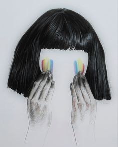 The Greatest by Sia with Maddie Ziegler - by Marie-Luise Sehn, fineliner, pastel chalk, 2016