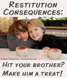 """""""Forced apologies don't teach true remorse and reconciliation. Parents can set kids up for sincere reconciliation. Restitution consequences encourage personal responsibility and usually end with one child feeling cared for and the other feeling caring. Parenting Done Right, Kids And Parenting, Parenting Hacks, Parenting Plan, Parenting Classes, Punishment For Kids, Kids Up, Kids Behavior, Christian Parenting"""