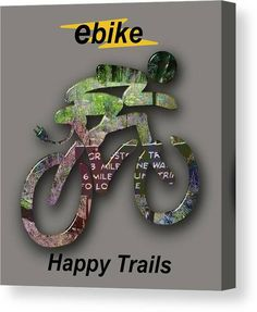 Ebike Canvas Print featuring the mixed media ebike Happy Trails by Marvin Blaine