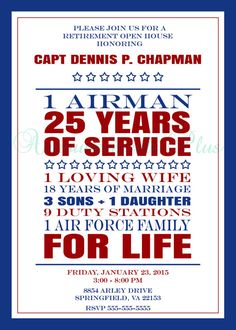 5x7 Military Retirement Card by AnnouncementsPlus on Etsy