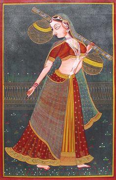 Ragini (Miniature Painting on Canvas - Unframed))