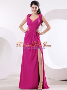 Fuchsia and V-neck For High Slit Prom Dress With Ruch and Brush Train- $ 142.32  www.fashionos.com  prom dress websites | sleeveless prom dress | chiffon prom dress | empire prom dress | zipper up prom dress | under 150 prom dress | v neck prom dress | brush train prom dress | prom dress stores |