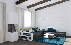 Living Room : Big Glass Window With White Room With Black Chairs With Blue Cushions Set Next To Blue Living Room Carpet White Curtain Attractive Minimalist Living Room Designs Inspiration Which Will Dazzle You