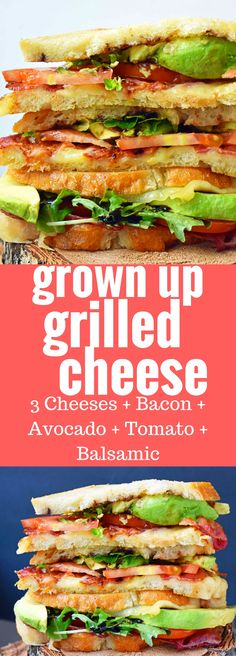 Grown Up Grilled Cheese Sandwich made with three types of cheeses, cripsy bacon, creamy avocado, thinly sliced tomato, fresh spring mix, caramelized onions, and a drizzle of balsamic glaze, all on buttery sourdough bread. A Gourmet BLT Grilled Cheese Sandwich. www.modernhoney.com