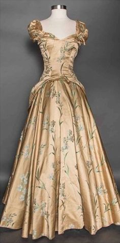1940s gold brocade evening gown