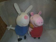 Peppa Pig - Peppa & Rebecca Rabbit - 2 soft toys - 10 H Rebecca Rabbit, Peppa Pig, Christmas Ornaments, Tv, Holiday Decor, Character, Ebay, Christmas Ornament, Lettering