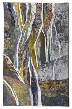 "WATCHING THE WATER FALL (26 "" x 39"") by Hilde Morin Curved piecing  hand dyed, and commercial fabrics, machine quilted"