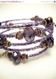 Purple Crystal Memory Wire Bracelet, Amethyst Crystal Beaded Bracelet